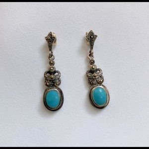 925 Sterling Silver Black CZ Turquoise earring